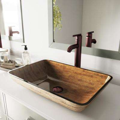 Rectangular Glass Vessel Bathroom Sink in Amber Sunset with Faucet Set in Oil Rubbed Bronze