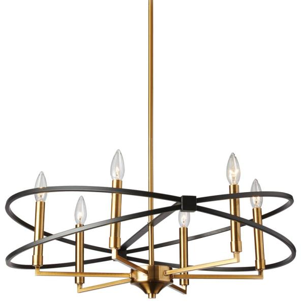 Paloma 6-Light Vintage Bronze Chandelier with No Shades