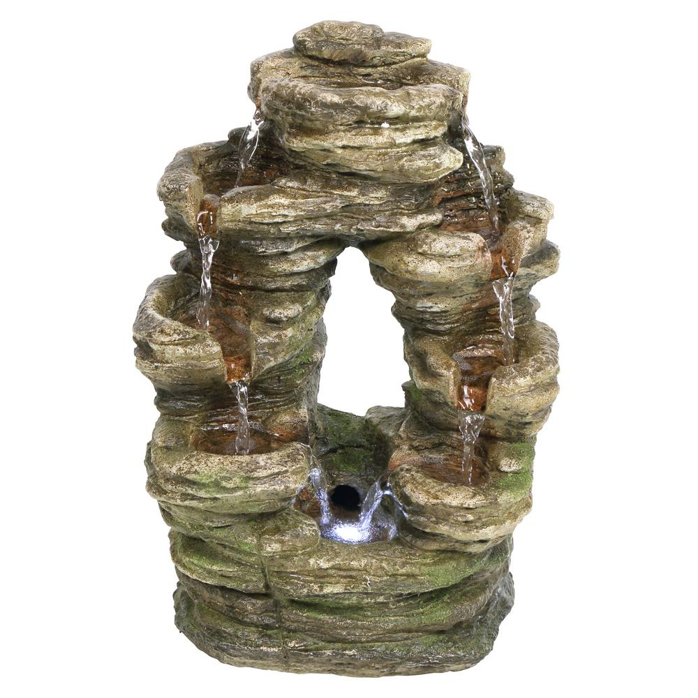 Design Toscano Horseshoe Bend Stone Bonded Resin Illuminated Garden Fountain
