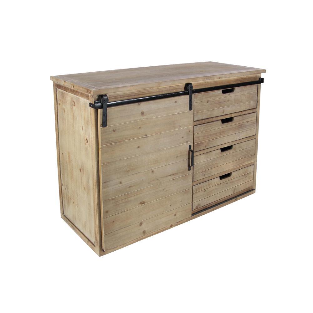 4-Drawer Wood Grain Storage Cabinet