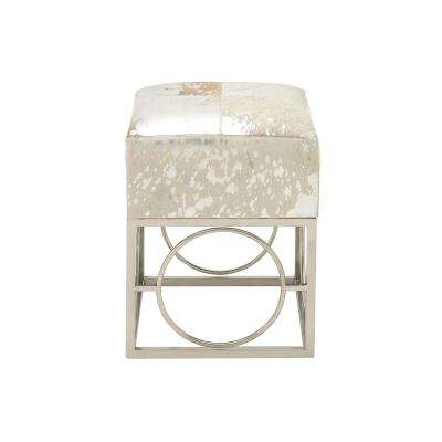 Silver and Tan Square Stool