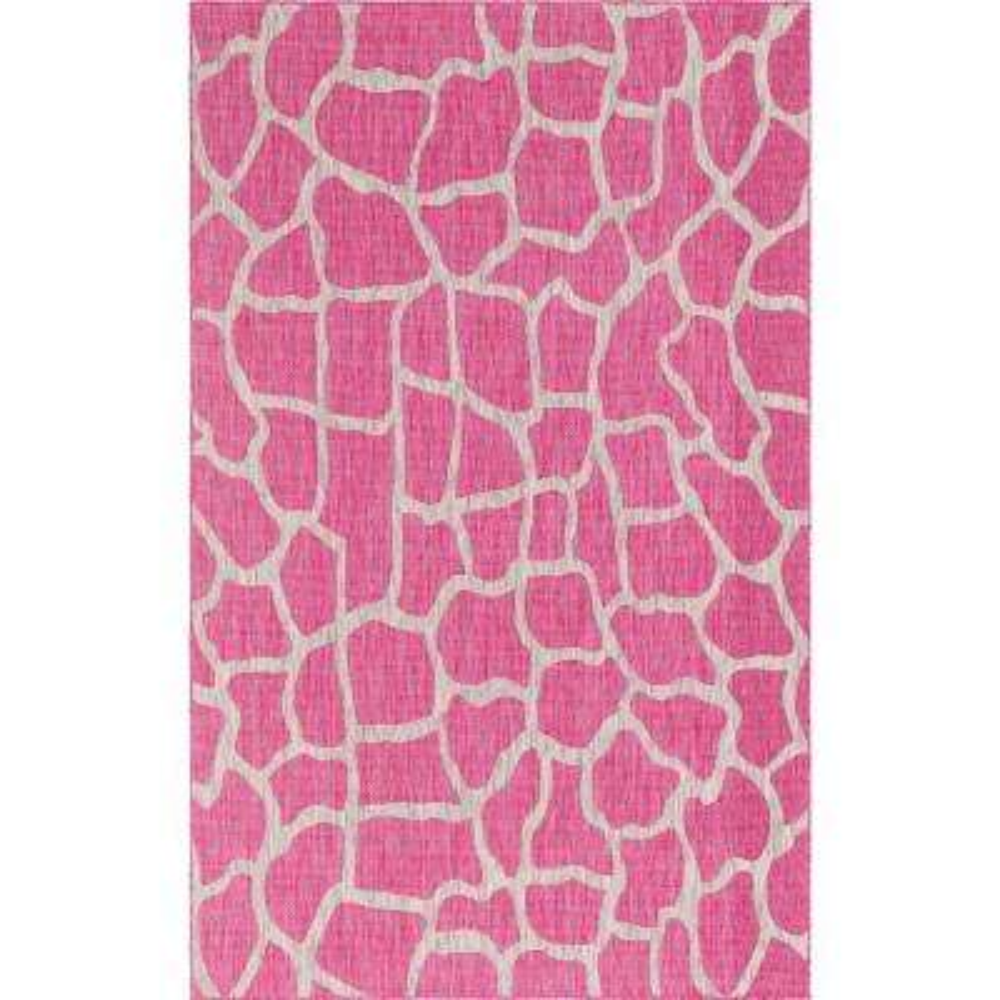 Outdoor Giraffe Pink 6 ft. x 9 ft. Area Rug