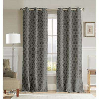 Kitterina 96 in. L x 36 in. W Polyester Blackout Curtain Panel in Dark Grey (2-Pack)