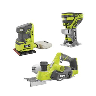 18-Volt ONE+ 3-1/4 in. Planer, 1/4 Sheet Sander with Dust Bag, and Fixed Base Trim Router (Tools Only)
