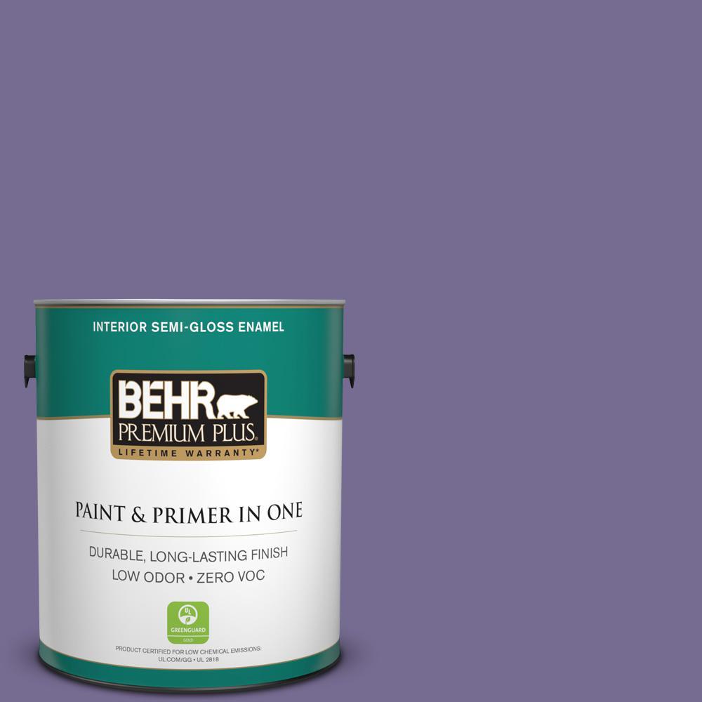 1-gal. #650D-6 Purple Silhouette Zero VOC Semi-Gloss Enamel Interior Paint