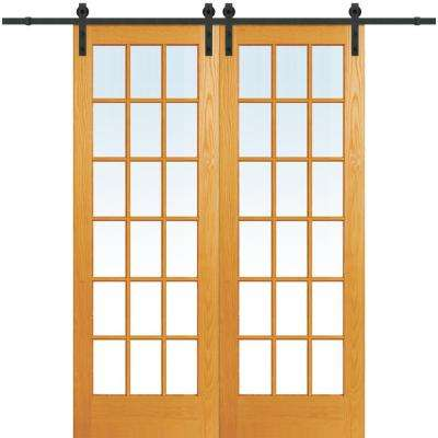 72 in. x 96 in. Clear True Divided 18-Lite Unfinished Pine Double Sliding Barn Door with Wood Hardware Kit