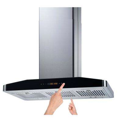 36 in. Convertible Island Mount Range Hood in Stainless Steel with Baffle Filters 750 CFM and 2 Sides Touch Controls