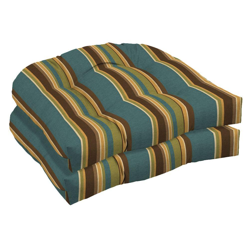 Arden Lakeside Stripe Tufted Outdoor Seat Pad (2-Pack)