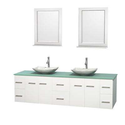 Centra 80 in. Double Vanity in White with Glass Vanity Top in Green, Carrera Marble Sinks and 24 in. Mirrors