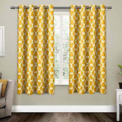 Gates 52 in. W x 63 in. L Woven Blackout Grommet Top Curtain Panel in Sundress Yellow (2 Panels)
