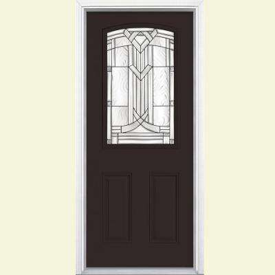 36 in. x 80 in. Chatham Camber Top Half Lite Left Hand Painted Fiberglass Prehung Front Door w/ Brickmold, Wood Frame