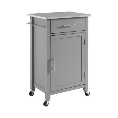 Savannah Gray Compact Kitchen Island with Stainless Steel Top