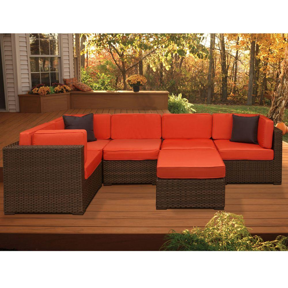 Atlantic Contemporary Lifestyle Brown Wicker Sectional Seating Set Cushions