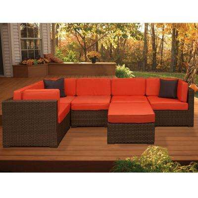 Bellagio Brown 6-Piece All-Weather Wicker Patio Sectional Seating Set with Orange Cushions