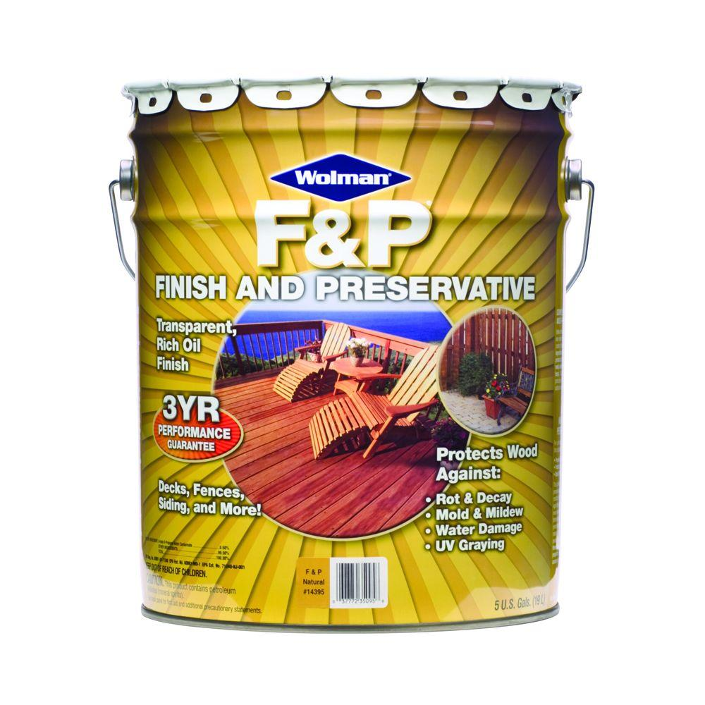 F&P Finish & Preservative 5-gal. Transparent Oil-Based Natural Deep-Penetrating Exterior Wood Stain-DISCONTINUED