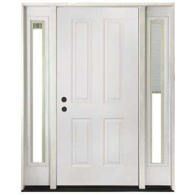 60 in. x 80 in. 4-Panel Primed White Right-Hand Steel Prehung Front Door with 10 in. Mini Blind Sidelites 4 in. Wall