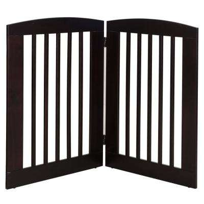 Ruffluv 36 in. H Wood 2-Panel Expansion Cappuccino Pet Gate