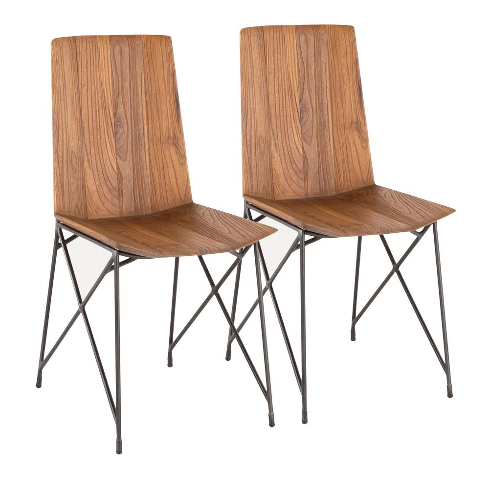 Lumisource Java Industrial Antique Metal and Brown Teak Wood Chair (Set of  2) - Lumisource Java Industrial Antique Metal And Brown Teak Wood Chair