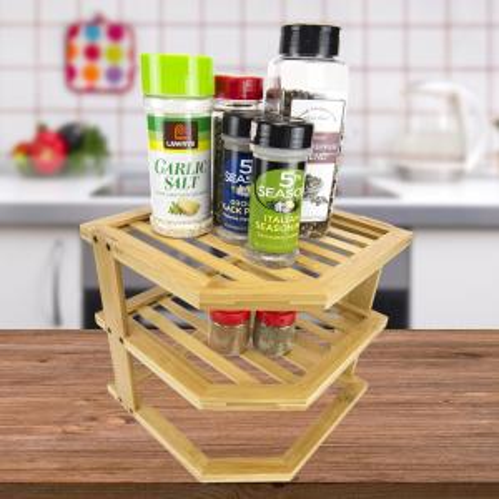 HOME basics 2-Shelf Brown/Tan Bamboo Corner Spice Rack by HOME basics