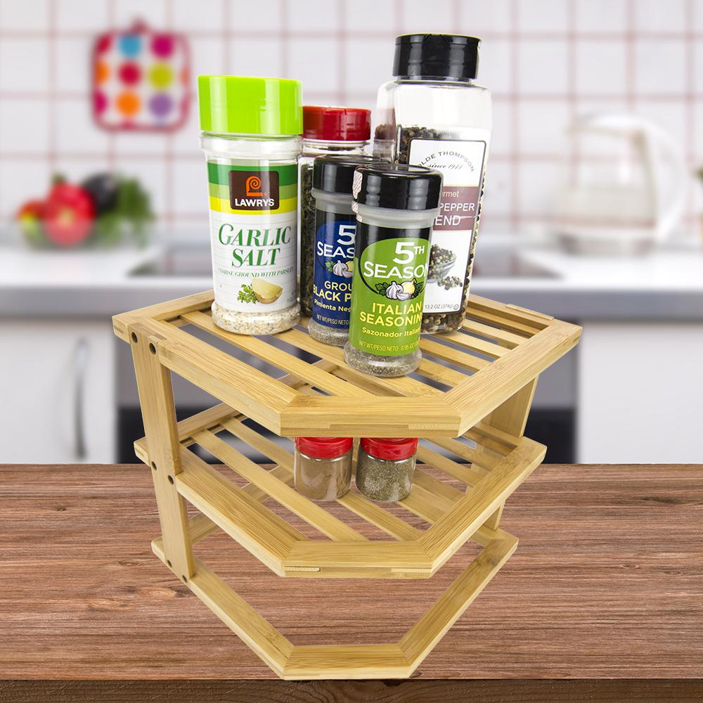 2-Shelf Brown/Tan Bamboo Corner Spice Rack