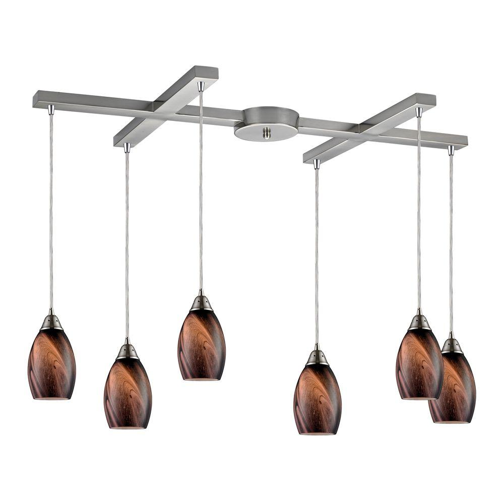Titan Lighting Formations/Rockslide 6-Light Satin Nickel Ceiling Mount Pendant