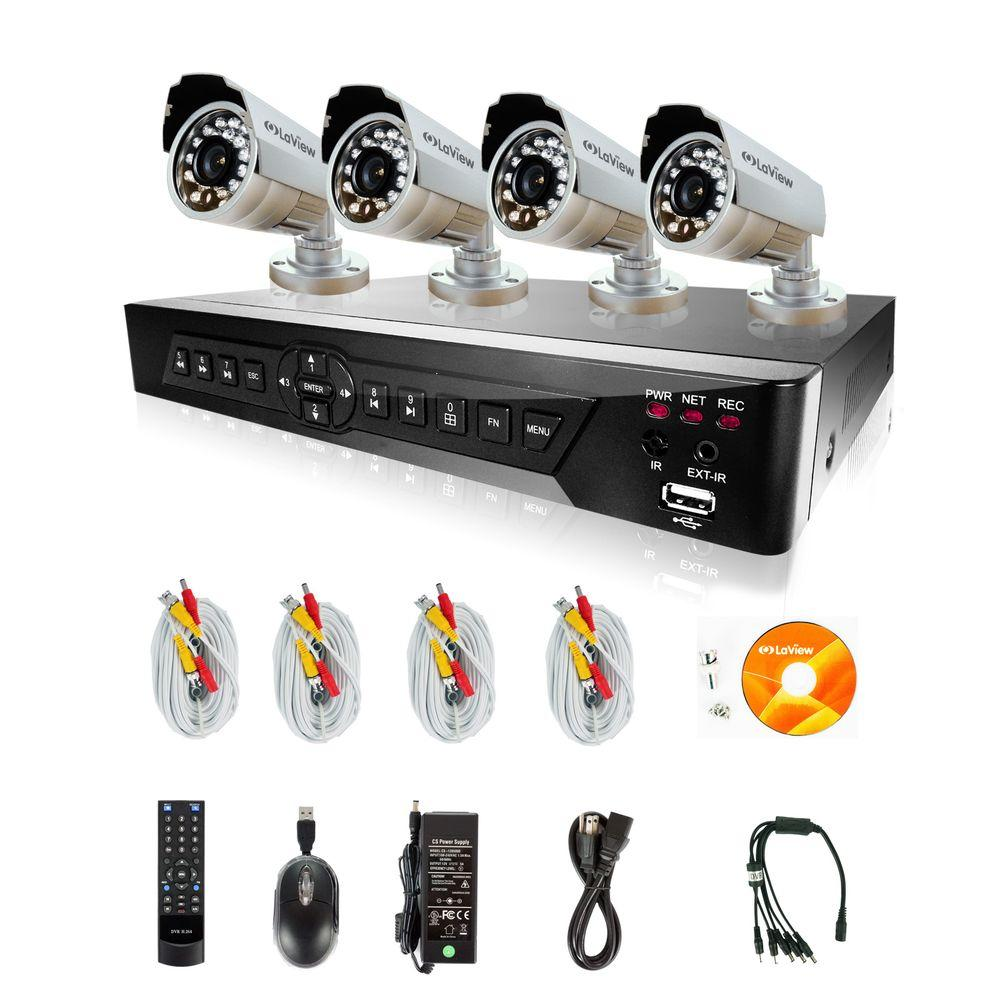 LaView 16-Channel Surveillance System with 500GB HDD and (4) 600TVL Camera