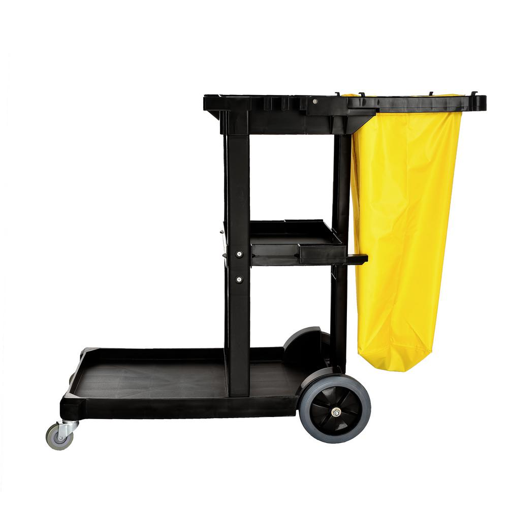 Alpine Industries 3 Shelf Janitorial Platform Cleaning PVC Cart with Yellow Vinyl Bag