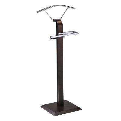18 in. x 45 in. Chrome / Walnut Metal / Wood Valet Stand