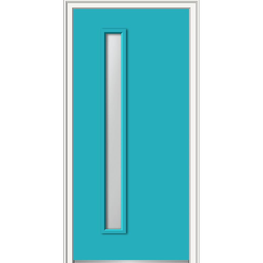 MMI Door 30 in. x 80 in. Viola Left-Hand Inswing 1-Lite Frosted Midcentury Painted Fiberglass Smooth Prehung Front Door