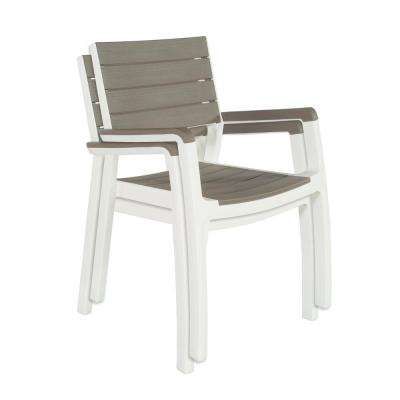Harmony White Cappuccino Stackable Patio Dining Chair (2-Pack)