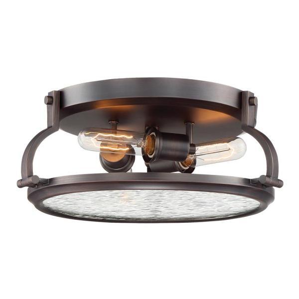 Eaton 3-Light Satin Copper Bronze Interior Flush Mount