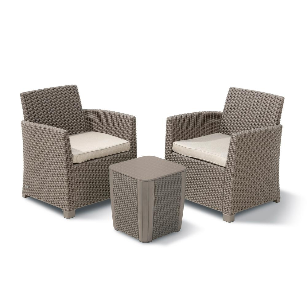 Keter Corona Duo Cappuccino 3-Piece All-Weather Resin Plastic Patio Seating Set with Sand Cushions