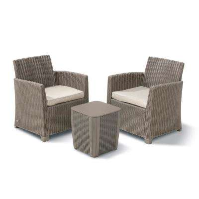 Corona Duo Cappuccino 3-Piece All-Weather Resin Plastic Patio Seating Set with Sand Cushions