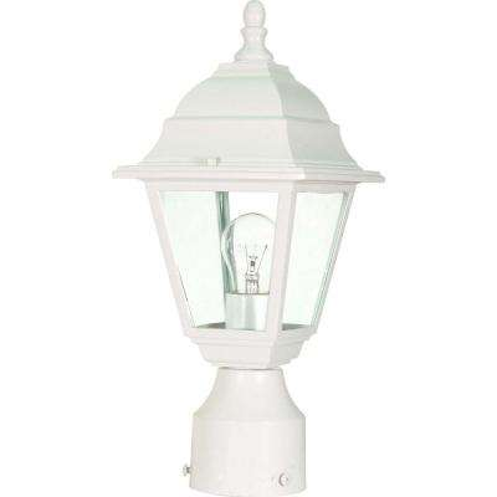 1-Light White Outdoor Incandescent Post Light