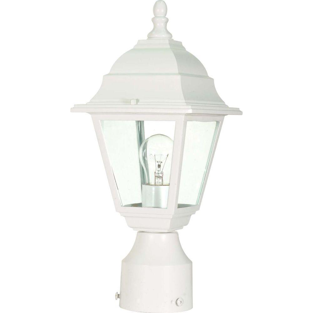 Outdoor Post Lights At Home Depot: Glomar 1-Light White Outdoor Incandescent Post Light-HD