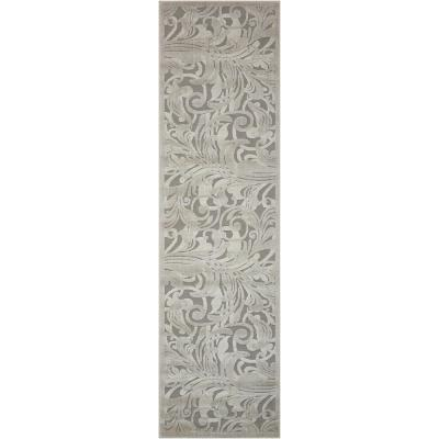 Graphic Illusions Grey/Camel 2 ft. x 8 ft. Floral Contemporary Runner Rug