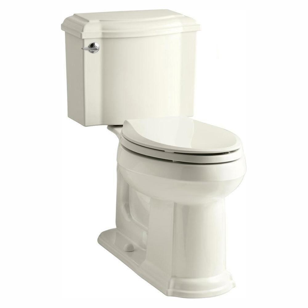 KOHLER Devonshire 2-Piece 1.28 GPF Single Flush Elongated Toilet with AquaPiston Flush Technology in Biscuit, Seat Not Included