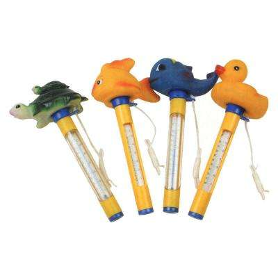 Yellow Floating Animal Swimming Pool Thermometers with Cords (Set of 4)