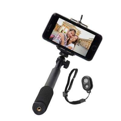 Cell Phone Bluetooth Selfie Stick with Shutter Button in Black