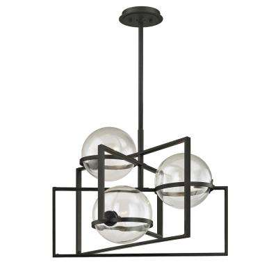 Elliot 3-Light Textured Black 25 in. W Pendant with Clear Glass