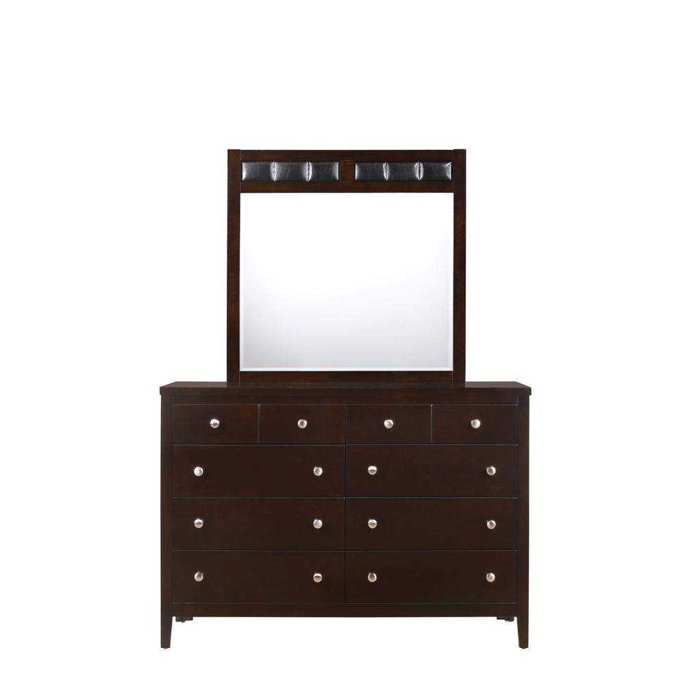 Luke 8 Drawer Dresser With Mirror In Antique Black Lw100drmr The