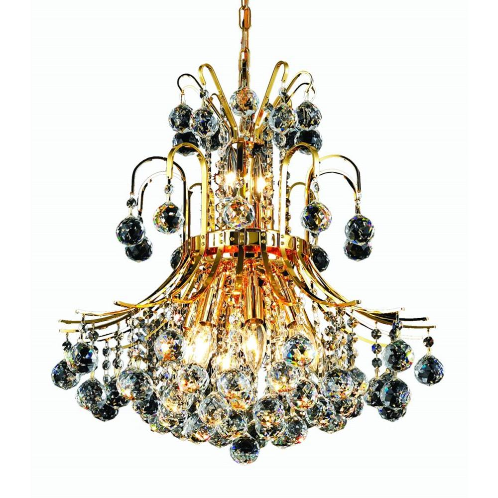Elegant Lighting 10-Light Gold Chandelier with Clear Crystal