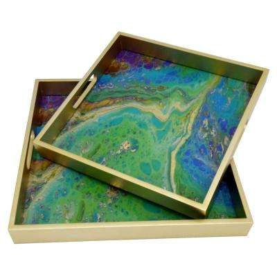 1.5 in. Green Glass Square Decorative Tray (Set of 2)
