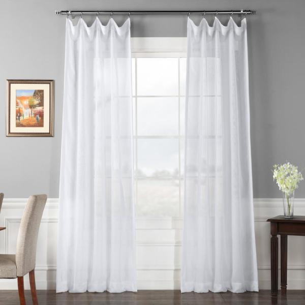 Signature Double Layered White Sheer Curtain - 50 in. W x 120 in. L (1-Panel)