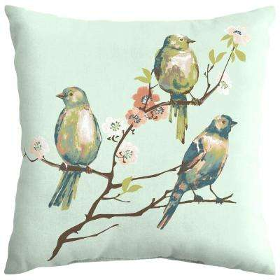 Beach Glass Birds Square Outdoor Throw Pillow