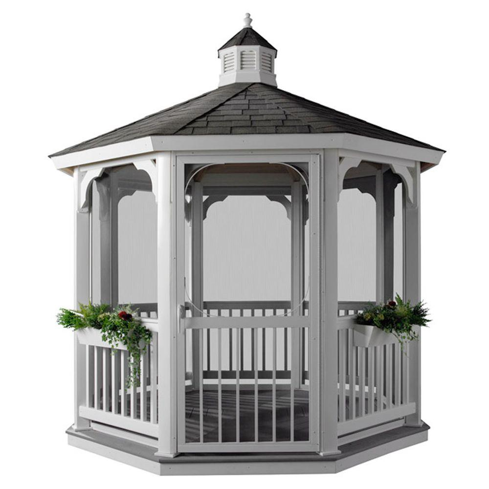 HomePlace Structures 12 ft. Octagon Vinyl Gazebo with Floor and Screens