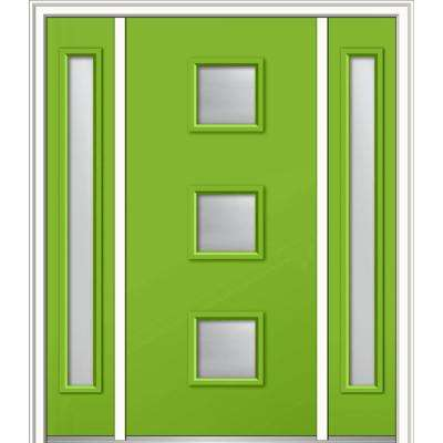 60 in. x 80 in. Aveline Low-E Left-Hand 3-Lite Midcentury Painted Fiberglass Smooth Prehung Front Door with Sidelites