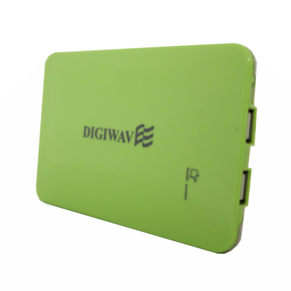 Homevision Technology Digiwave 9000mAh Portable Smart Power Bank, Green Digiwave DCP1090G Portable Smart Powerbank is portable emergency back up power supply for your devices and this also can charge up to 2 devices at the same time. This stylish designed powerbank adopts intelligent circuits to enable safe charging with its four layer circuit protection. This smart powerbank is compatible and able to charge all standard smart phones, tablets, iPods, iPads, MP3 players, cameras and portable gaming consoles. Color: Green.