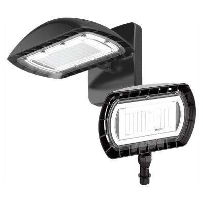 Dark Bronze Outdoor Integrated LED High-Output Flood Light with Wall Pack Mount Kit