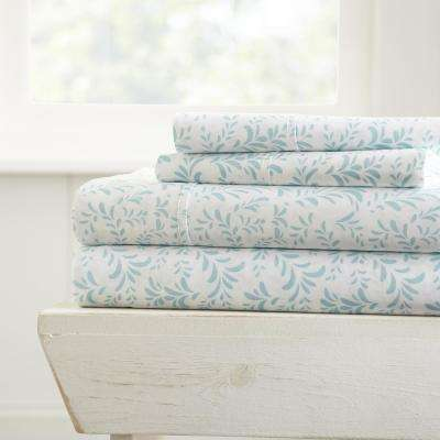 Burst of Vines Patterned 4-Piece Light Blue California King Performance Bed Sheet Set